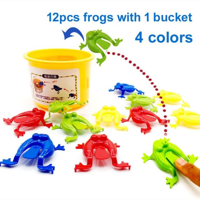 Besegad 12 pcs Engraçado Rãs Saltando Hoppers Jogo Brinquedos com Balde de Plástico para Crianças Dos Miúdos Do Partido Favorece Presentes de Aniversário
