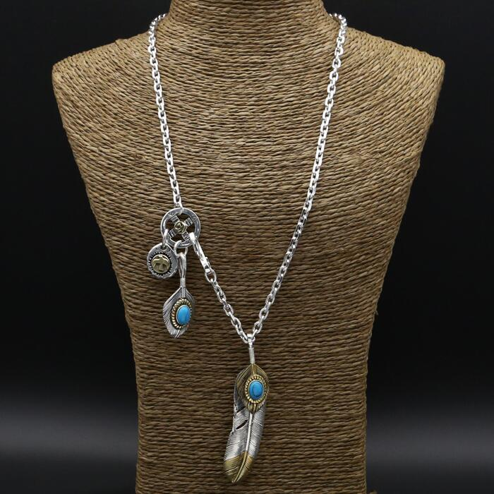 47.2g véritable solide 925 en argent Sterling Long pendentif collier hommes femmes bleu naturel pierre Vintage Style indien hommes collier argent