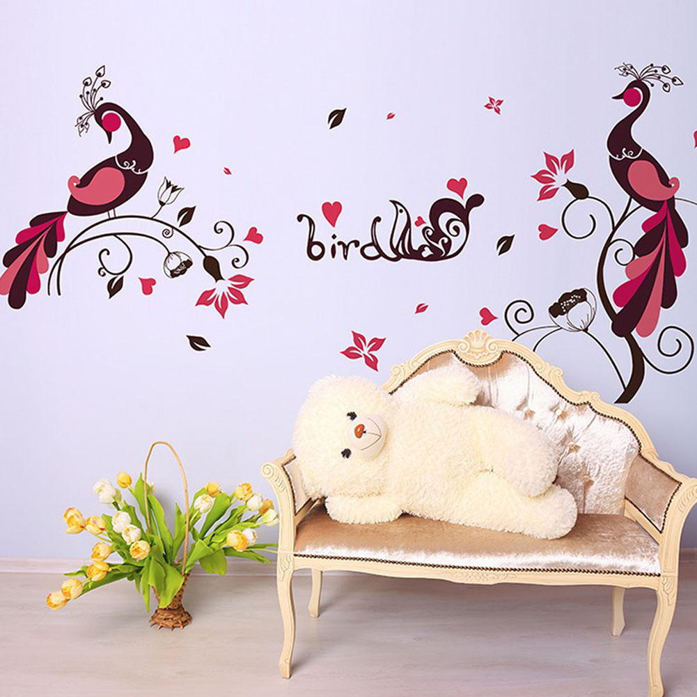 online get cheap peacock wall stickers aliexpress com alibaba group new bird peacock pvc removable wall stickers children s bedroom decor china mainland