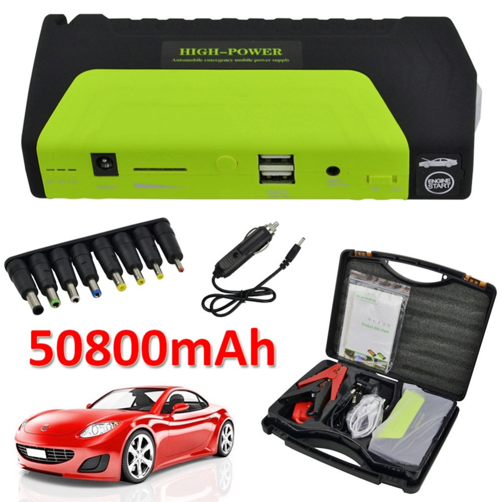 50800mAh 12V Portable Car Jump Starter Mini Car Battery Engine Starter Booster Emergency Power Bank Battery Source Pack Charger newest 50800mah 12v car emergency start power bank vehicle jump starter booster portable current battery charger three light hot