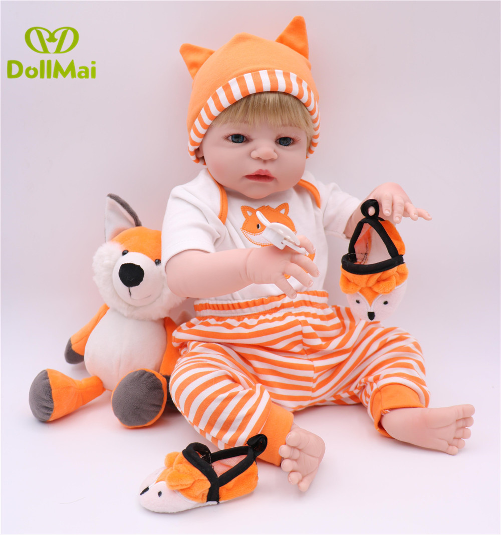 Real Bebes reborn meno full silicone reborn baby boy dolls 22inch 55cm newborn baby alive doll with fox clothing plush gift toysReal Bebes reborn meno full silicone reborn baby boy dolls 22inch 55cm newborn baby alive doll with fox clothing plush gift toys