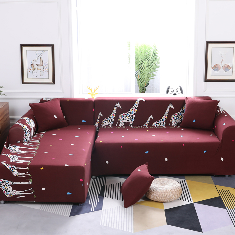 Universal Sofa Covers For L Shape Polyester Fabric Stretch