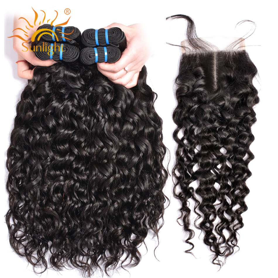 Human Hair Water Wave Bundles With Closure Sunlight Indian Hair Extension Non Remy Hair Weave 3 Bundle With Lace Closure 4*4