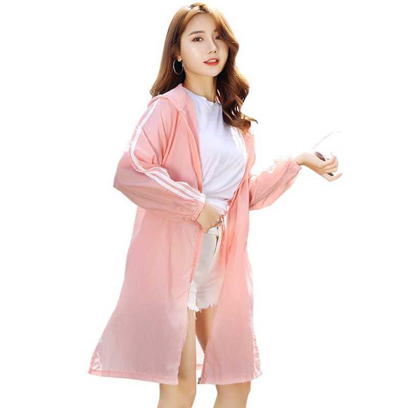 94d32edec Fashion Summer Ultra-thin Loose Windbreaker Women's Hooded Long Cardigan  Beach Windbreaker Jacket Large Size Sun Protection Clot