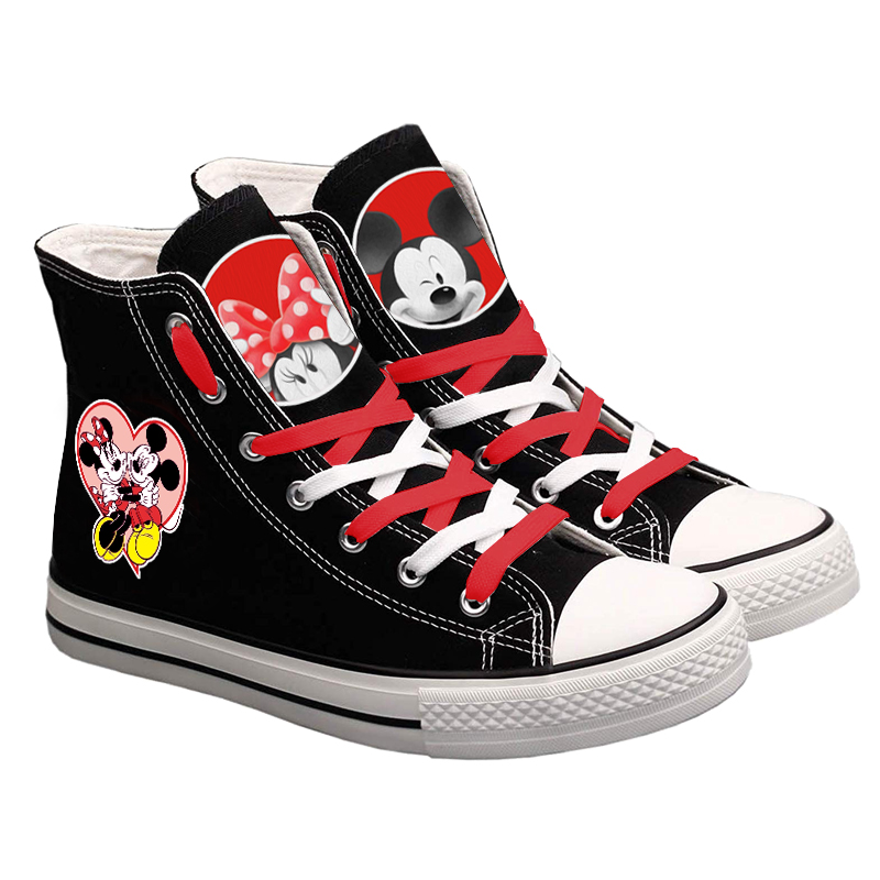 Cute Mickey Mous Canvas Shoes Woman Girls Lace Up Sneakers Woman Casual Shoes Student Shoes Flat Foot Wear Fashion