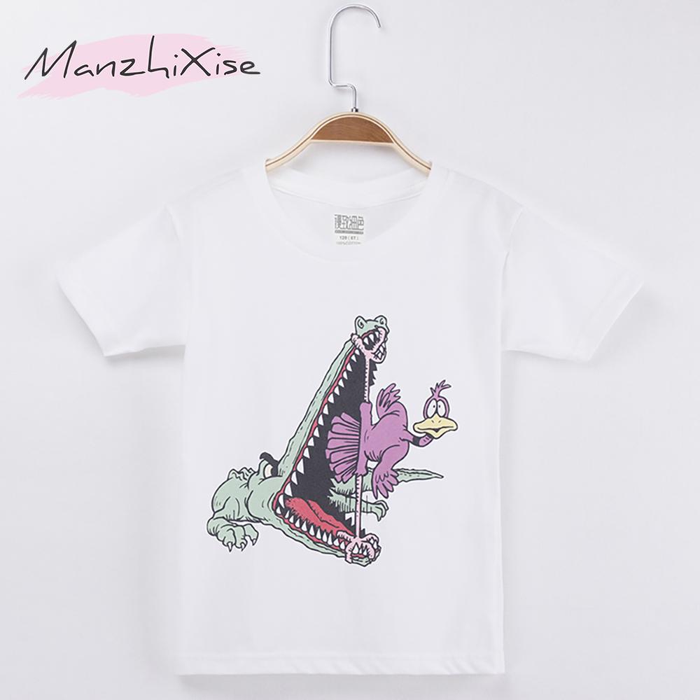 2019 Kids T-shirt For Children Funny Crocodile/Dinosaur Print Cotton Boys Short T Shirts Girls Clothes Tops Tees Free Shipping