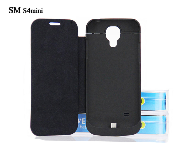 2800mAh External Power Bank Pack Portable Charger Backup Battery Case For Samsung galaxy S4mini With Flip Charger Cover 2 Colors