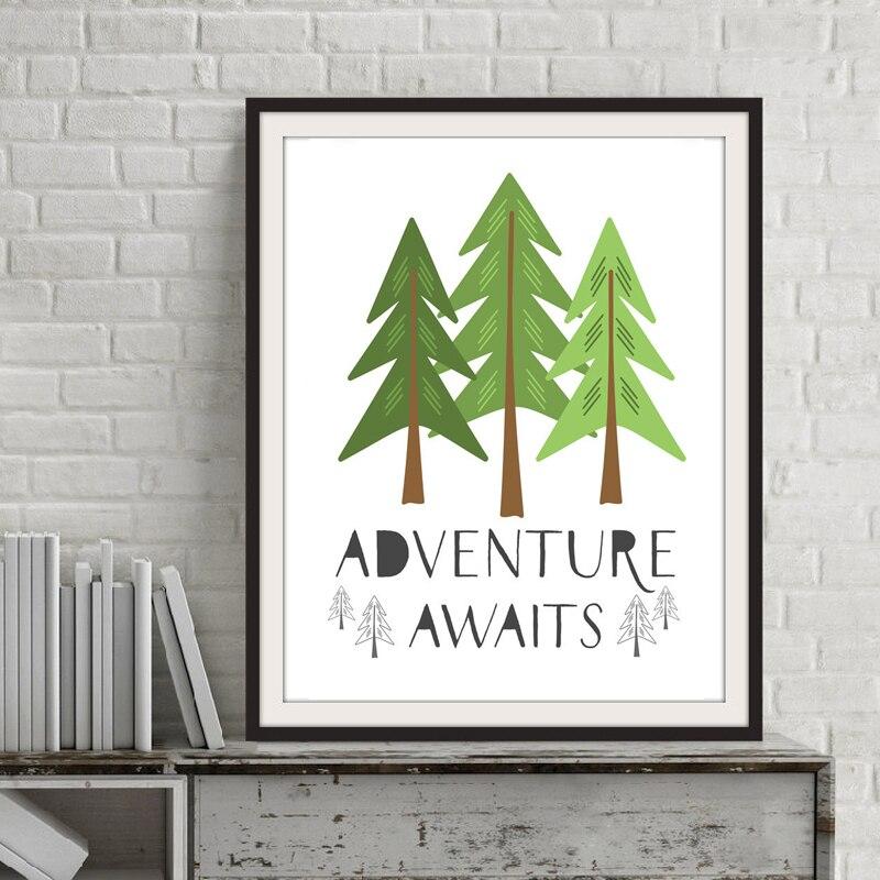 Приключение ждет Цитата Pine Ёлки холст картины Детская стены Книги по искусству плакат печати северных картина для детской комнаты Домашний...