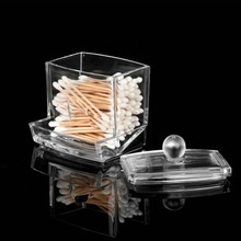 Storage Cosmetic Case Crystal Swab Box Make Up Cotton Receive A Case Receive  Case Transparent Cosmetic Acrylic Household
