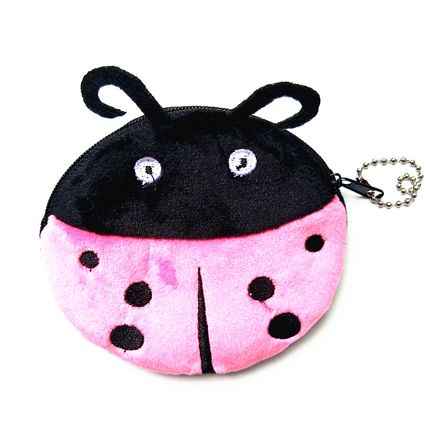 M114 2017 Cute Cartoon Coin Zero Purses Beautiful Ladybird Beetle Plush Coin Purse Wallet Card Bag Girl Student Gift Wholesale