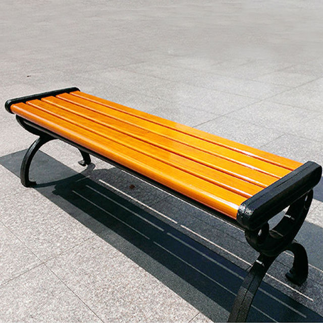 Park Bench Seat Backless Cast Iron Wood Outdoor Leisure Chair C67 In