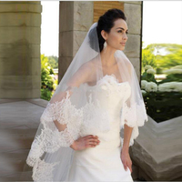 Velos De Novia Largos Bridal Veil For Wedding Accessories Two Tiered Lace Appliques Edge Long Luxury Wedding Veil Bride Veils
