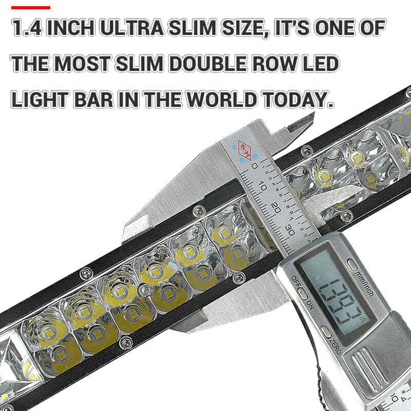 RACBOX 7 13 20 بوصة 30 40 المصابيح الترا سليم صف مزدوج LED قضيب مصابيح عملي ل الطرق الوعرة سيارة شاحنة جرار مقطورة SUV ATV 12V 24V