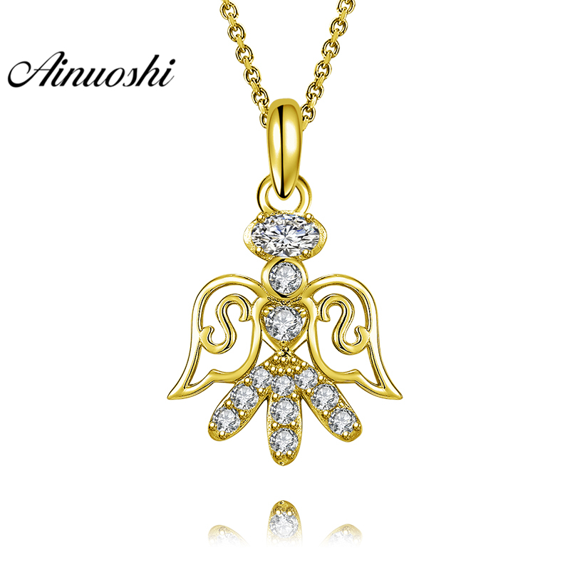 AINUOSHI 10K Solid Yellow Gold Pendant Litter Angel Pendant SONA Diamond Women Men Jewelry Adorable Cherub 2.0g Separate Pendant тюнер little angel cherub wst 600b