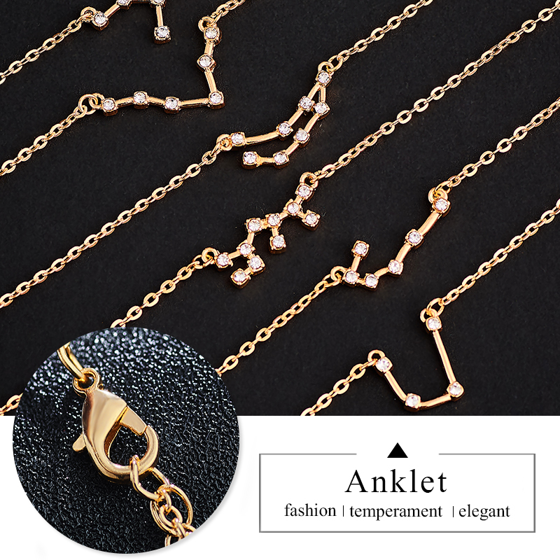 MISANANRYNE 12 Zodiac Constellation Anklets Women Vintage Gold Sliver Color Crystal Anklet 2019 Bracelet On Leg Bohemian Jewelry in Anklets from Jewelry Accessories