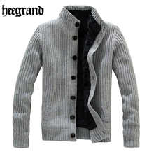 HEE GRAND 2017 Casual Mandarin Collar Warm Sweater Men Thick Knitting Simple Cardigans Hombre MWK022