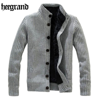 HEE GRAND 2018 Casual Mandarin Collar Warm Sweater Men Thick Knitting Simple Cardigans Hombre MWK022