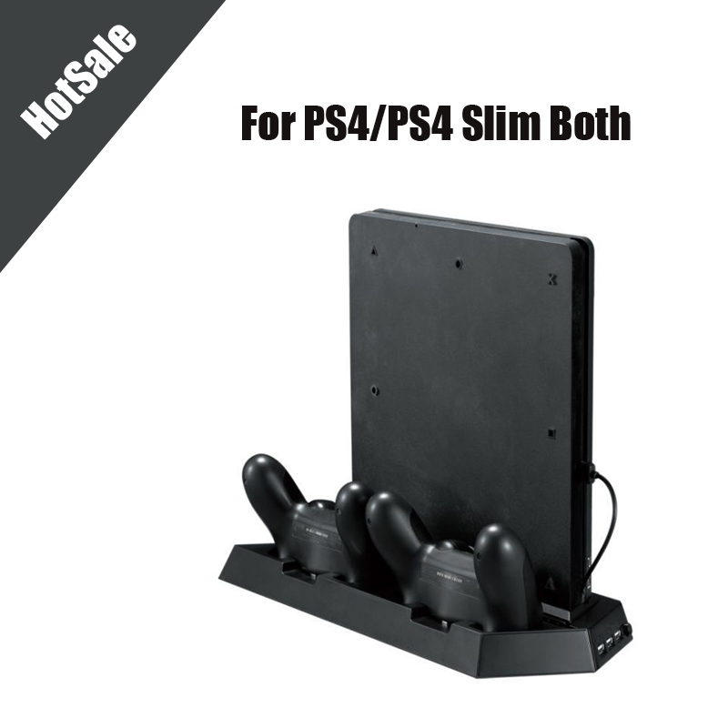For PS4 PS4 SlimVertical Stand Cooling Fan Dual Charging Station for Playstation 4 DualShock 4 with Dual USB HUB Charger Ports