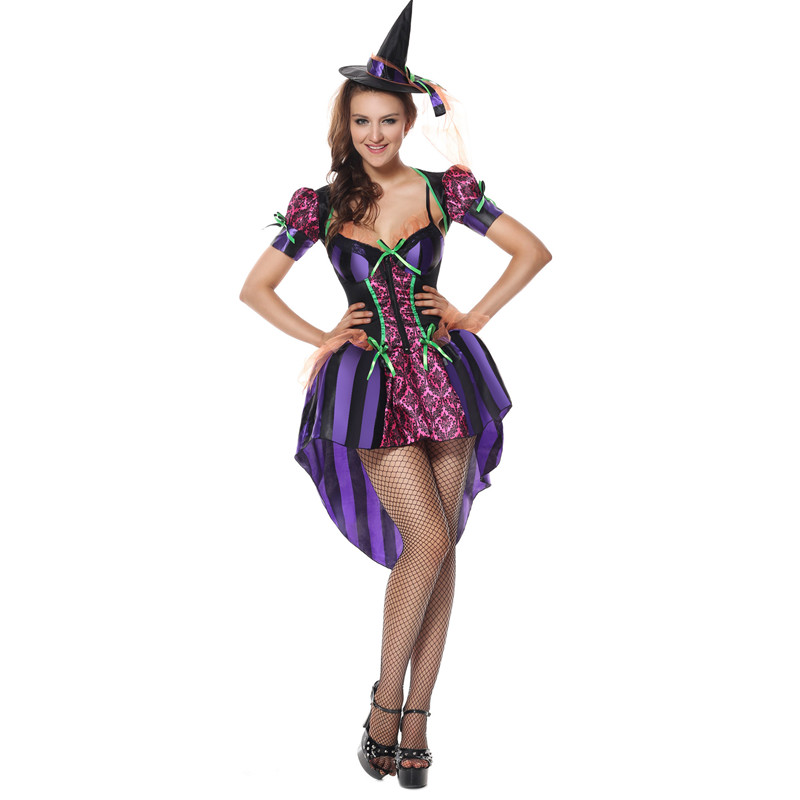 Sexy Adult Witch Costume for Women Halloween Party Witch Dress Sexy Purple Swallow tail Performances Fancy Dress+Hat m40051