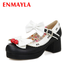 ENMAYER Bowtie ladies fashion Mary Janes pumps women high heels Round Toe shoes woman Sweet dress pumps party dance shoes women sorbern fashion mary janes women pumps black shiny high heels chunky heeled platform shoes night party shoes pole dance shoes