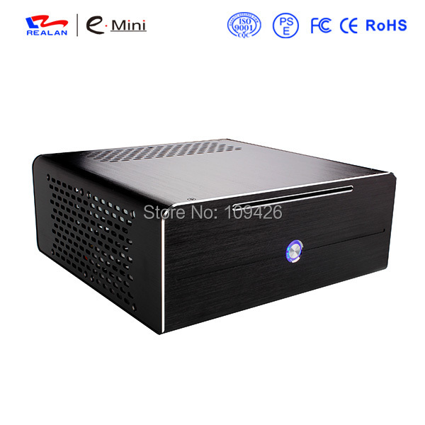 Realan aluminum mini itx desktop pc case E-i7 with power supply, CD-ROM, slots black silver e mini training m3 computer case itx desktop power supply aluminum nobility