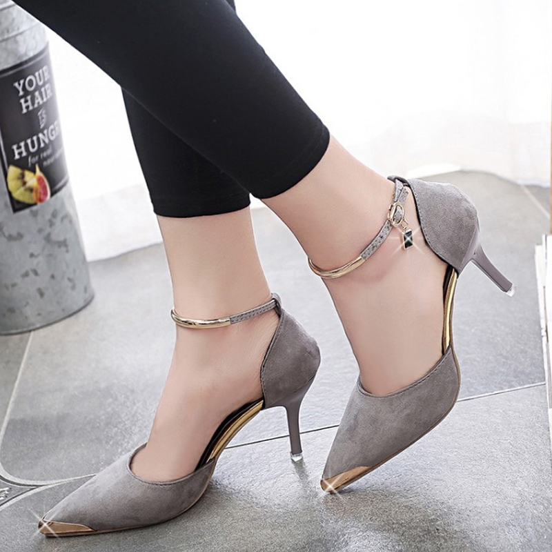 Women Suede Low Heeled Shoes Sexy A Word Fastener Fashion