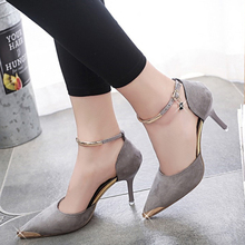 Women Suede Low Heeled Shoes Sexy A Word Fastener Fashion Pointed-Toe Stiletto Heels Shoes Red Bottom Ladies Wedding Shoes