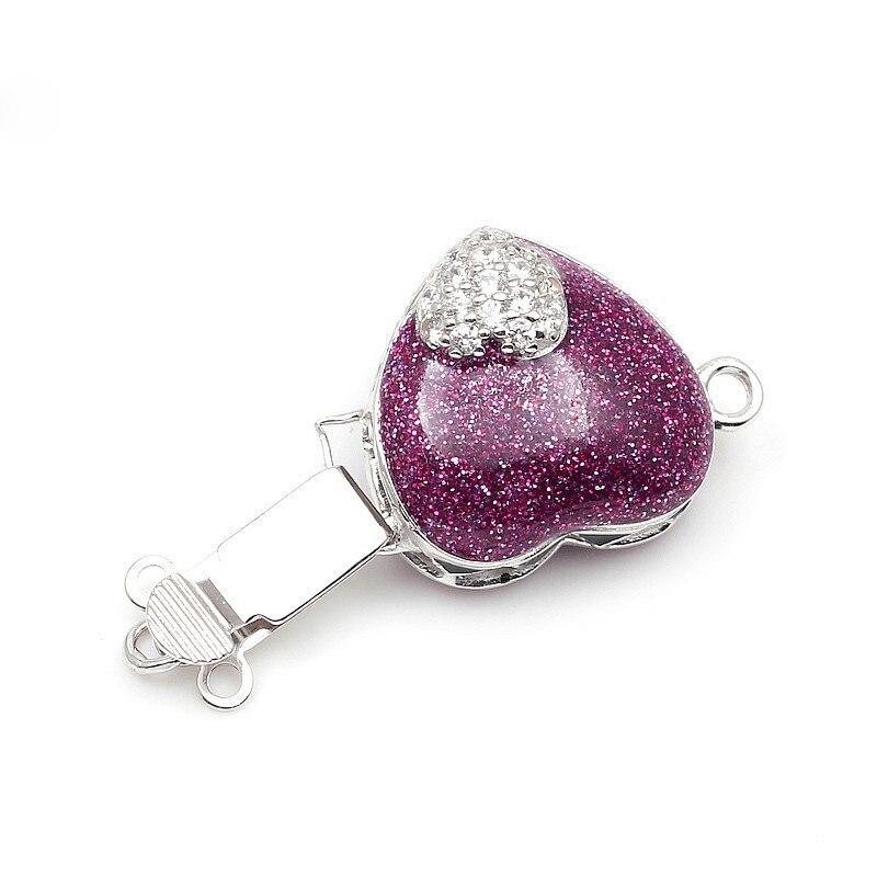 Forme de coeur émaillé violet Micro Pave Zircon boîte en argent Sterling fermoirs crochets résultats de bijoux pour collier de perles SC-BC221 - 3