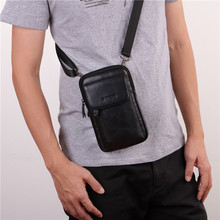 YIANG Men's Genuine Leather Small Cross Body Single Shoulder Bags Men's Fashion Messenger Waist Belt Bag Mobile Phone Pouch
