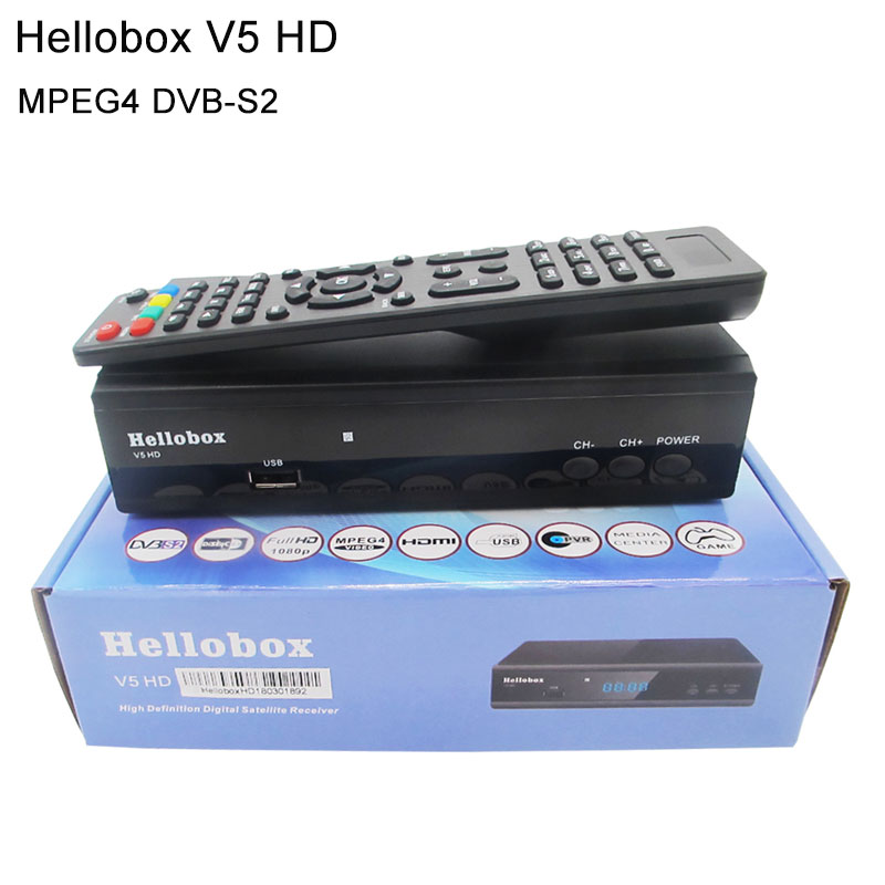 Hellobox V5 HD MPEG4 DVB-S2 Satellite Receiver Support Powervu Channel auto-roll Better than FREESAT V8 Super V7 HD V7S HD hellobox gsky v7 5pcs hd powervu autoroll iks ccam dvb s2 receiver tv box better than freesat support tandberg patch