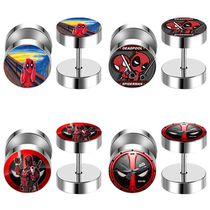 2 pcs/Lot Deadpool Stainless Steel Fake Cheater Ear Tunnel Plugs Piercing Barbell Unisex Stud Earring FEP_DEADFN1(China)