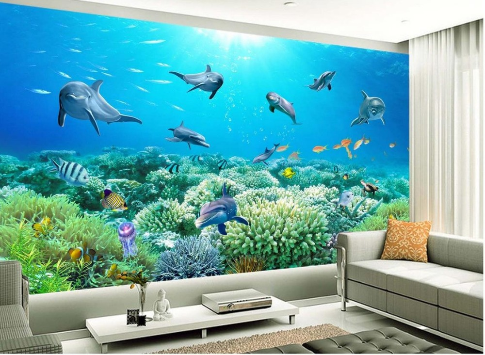 Buy custom 3d mural wallpaper ocean beach for Papel de paisajes para paredes