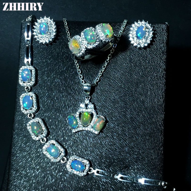 ZHHIRY Natural Fire Opal Gemstone Jewelry Sets Genuine Stone Solid 925 Sterling Silver Precious Stone Woman