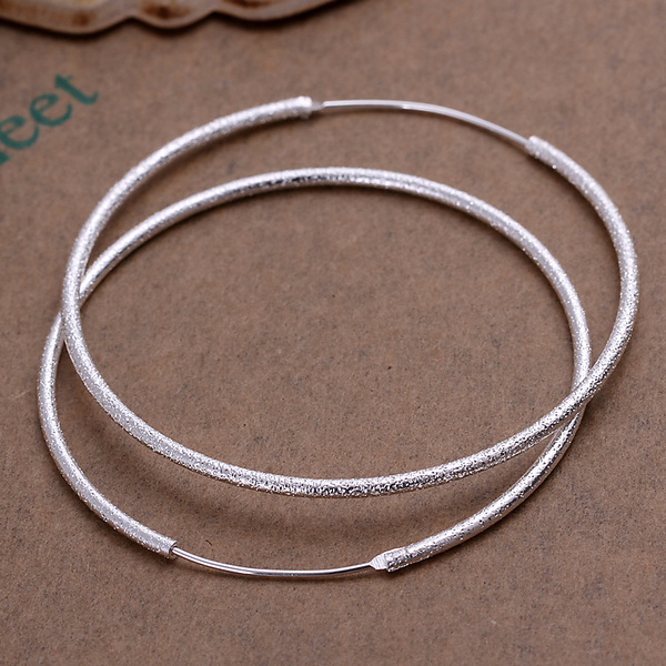925 stering silver jewelry silver hoop earrings hot sale fashion women  finding 2015 new frosted round hoop earings CE044