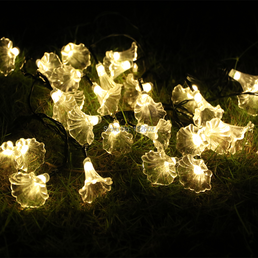 Battery 6M 30LED Mornig Glory Shaped LED String Lights, Outdoor Christmas Holiday Party Garden Decorative Lights with Remote