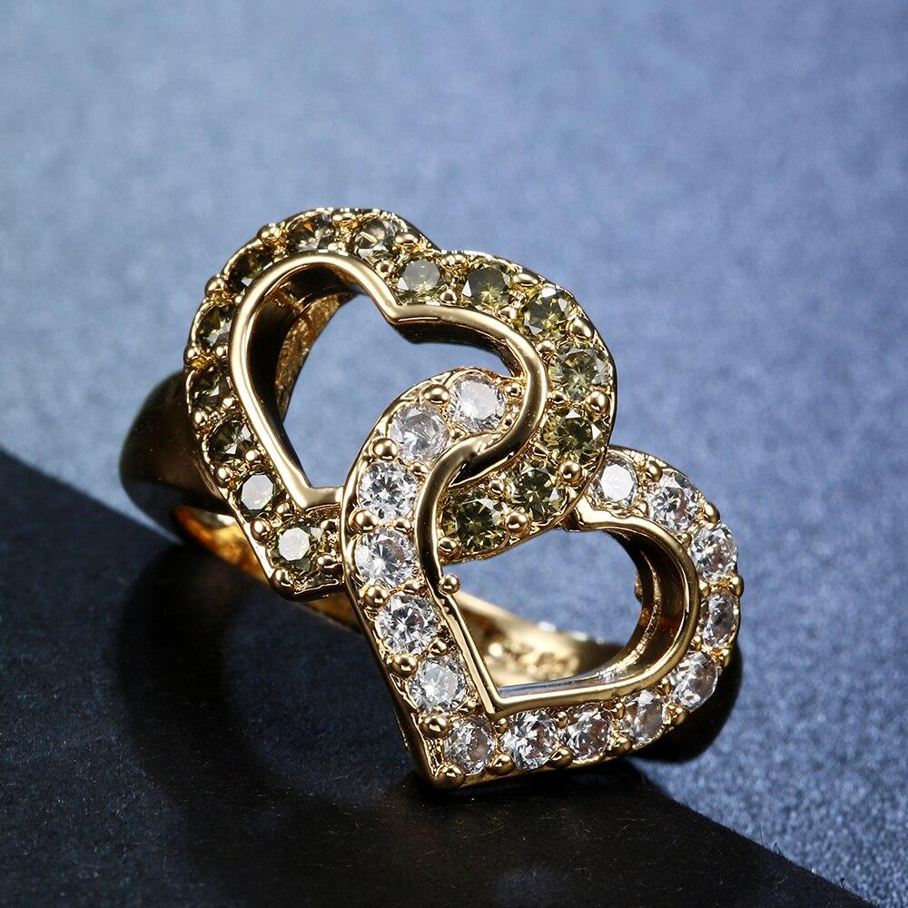 С серебряным покрытием кольцо для любовь девушка двойное сердце с серебряным покрытием подарок женщины Циркон принцессы Свадебные Обручал...