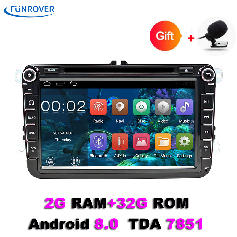 цена на Funrover 2 Din 8'' Car Radio For Volkswagen VW golf 6 touran sharan Lavida polo passat B7 jetta with Navi Car GPS Car DVD player