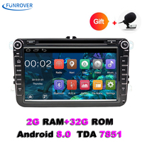 Funrover 2 Din 8 Car Radio For Volkswagen VW Golf 6 Touran Sharan Lavida Polo Passat