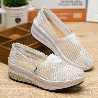 SWYIVY/женские тонизирующие туфли; сетчатая дышащая обувь на толстой подошве; обувь для танцев; Новинка года; летние легкие мягкие женские туфли для похудения - Цвет: Белый