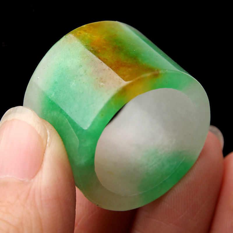 ธรรมชาติaแห้งสีเขียวหยกBanZhiแหวน-ผู้ชายและผู้หญิงส่วนกว้างแหวนแหวน