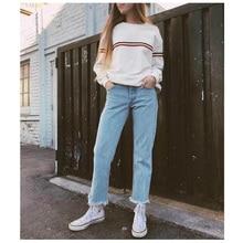 Autumn Winter Oversize Stripe Sweatshirt Women Pullover Ariana Grande Blackpink Bangtan Boys Exo Vintage Retro White Baggy Coat