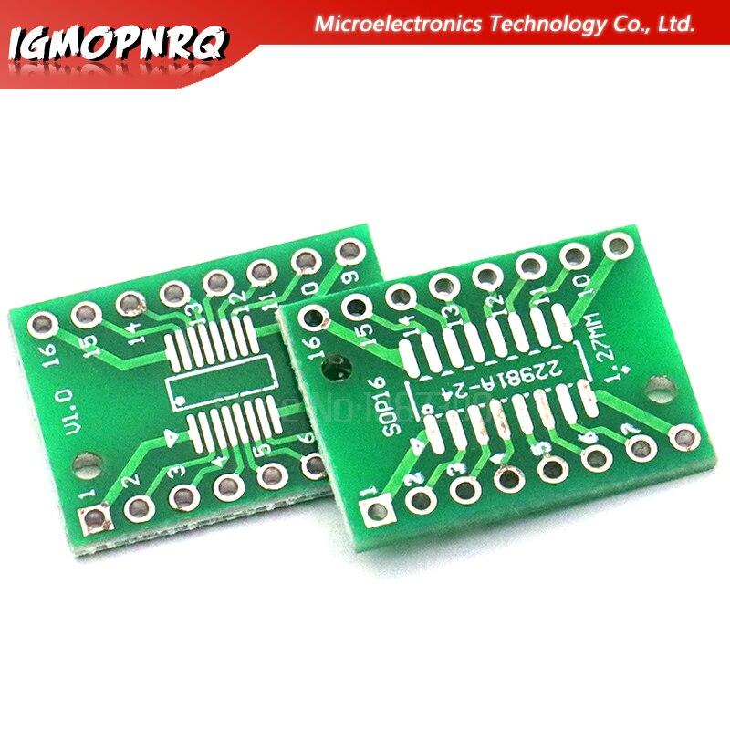 10PCS TSSOP16 SSOP16 SOP16 Transfer To DIP16 IC Adapter Converter Socket Board Module Adapters Plate 0.65mm 1.27mm