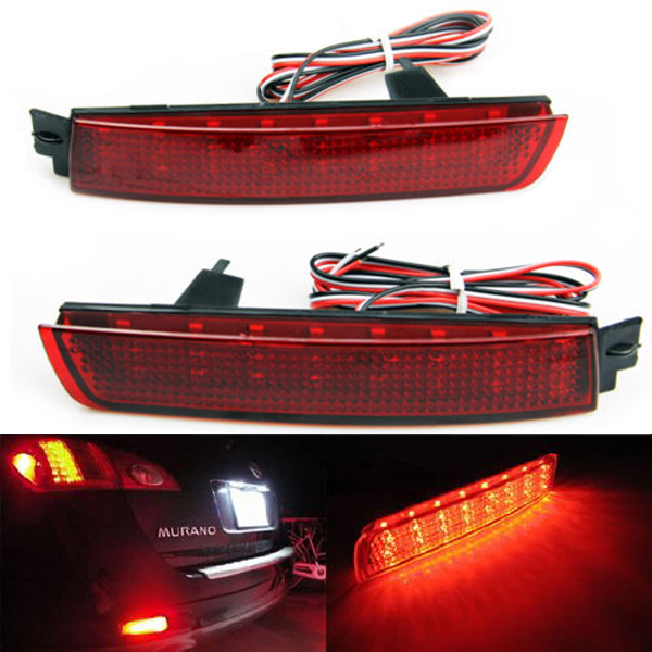 2003 Nissan Murano Reviews >> Aliexpress.com : Buy Red Lens 24 SMD LED Rear Bumper Reflector Lamp Add on Tail Brake Light Fog ...