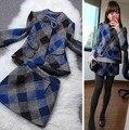 2016 estilo europeo nuevo fashionwinter lana para mujer slim fit traje de falda a cuadros para mujer 2 unidades set mujeres crop top y falda set