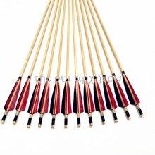 6/12/24pcs 전통적인 양궁 Longbow & Recurve 활에 대 한 터키 깃털을 Fletching 나무 화살표