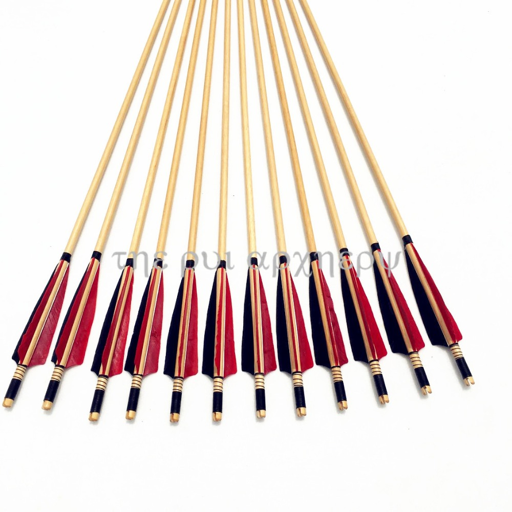 6/12/24pcs Wooden Arrows Fletching Turkey Feather For Traditional Archery Longbow & Recurve Bow