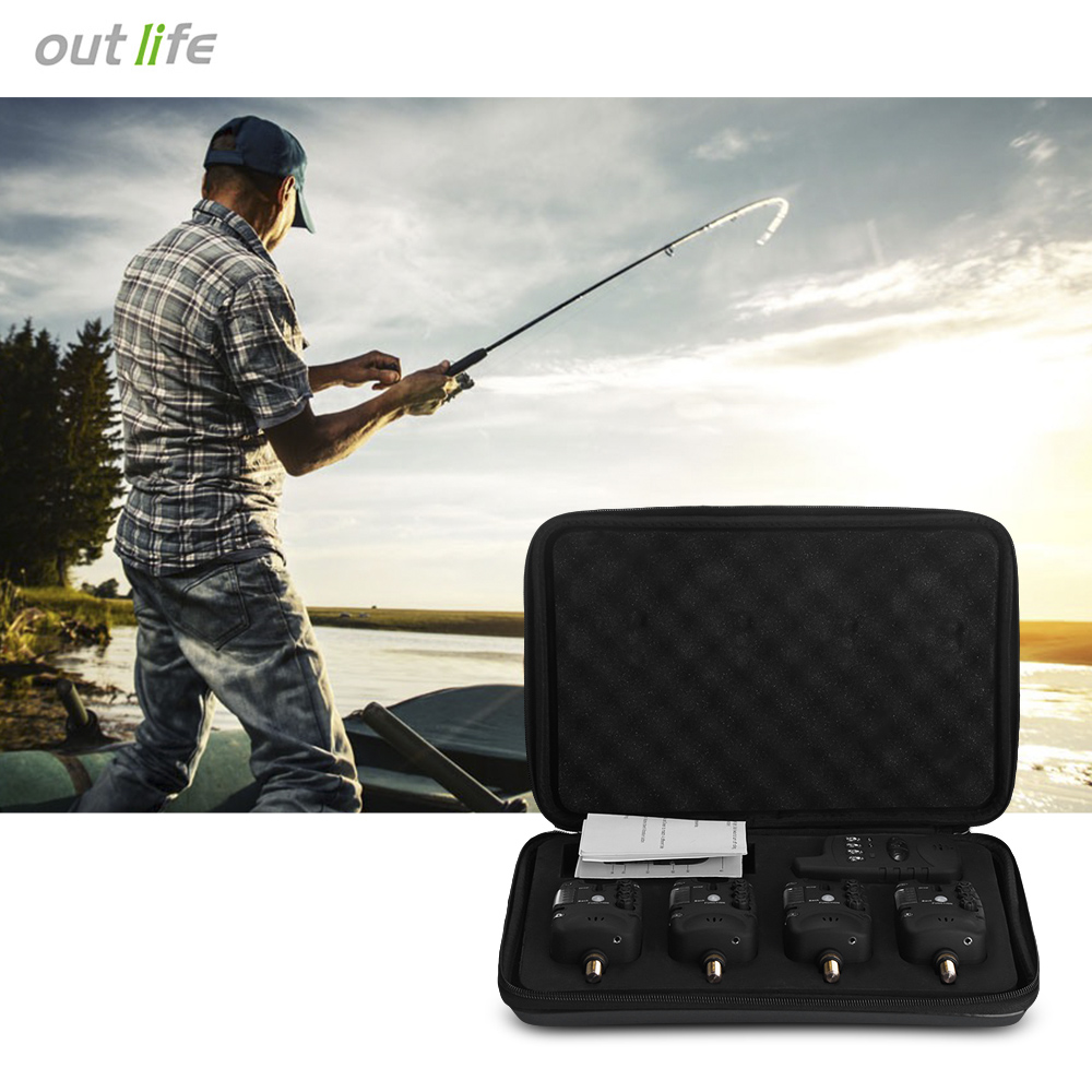 Outlife JY - 27 Wireless LED Fishing Bite Alarm Set with Receiver Case Carp Bite Alarm Bite Indicator Fishing Tools wireless jy 19 sw fish fishing alarm bite set fishing alarms bells carp light for tackle rod fishing with lcd screen indicator