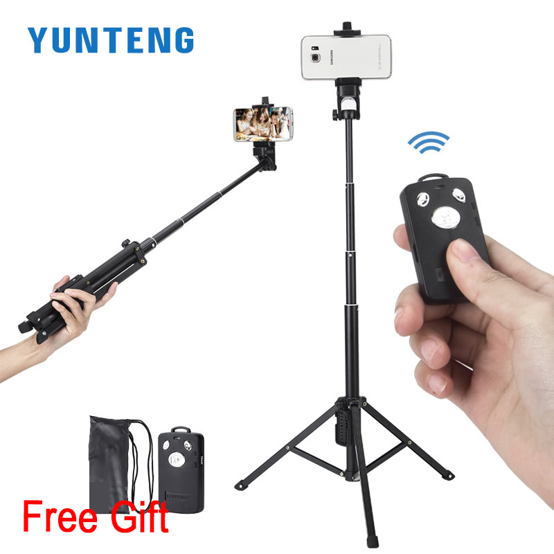 All in 1 Compact Viaggi Alluminio Treppiedi Monopiede Bluetooth Controllo Scatto Remoto Selfie Stick per iPhone Smartphone Camera