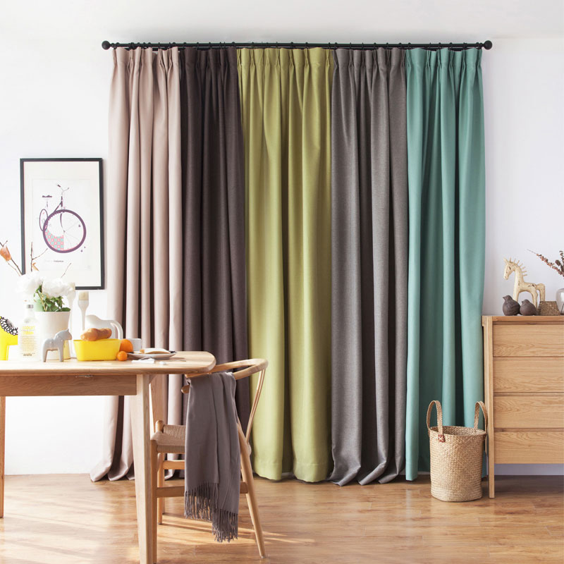 Single Panels Blackout Curtains for Bedroom Modern Home Decoration For Window Solid Faux Linen Material Curtain Living Room