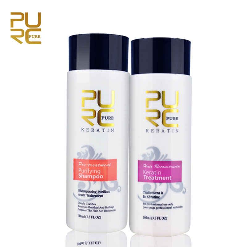 Brazilian Keratin Hair Treatment and Purifying Shampoo 2pcs a set 200ml Damaged Hair Care Repair Straightening Products P12 hairinque5% brazilian keratin hair treatment for asian and european s hair hair care products 30minutes repair damage hair